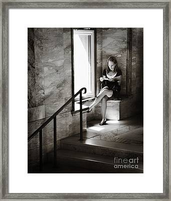Girl Reading By The Window Framed Print by Jim  Calarese