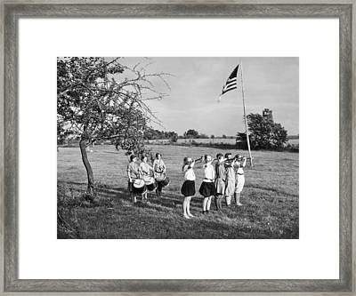 Girl Scout Camp Flag Ceremony Framed Print by Underwood Archives