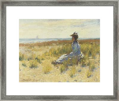 Girl Seated By The Sea Framed Print by Robert Henri