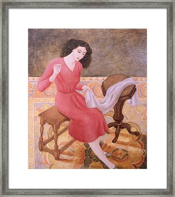 Girl Sewing, 1991 Framed Print by Patricia O'Brien