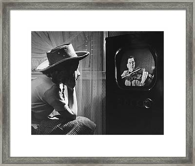 Girl Watching Tv Framed Print by Underwood Archives
