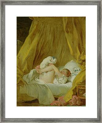 Girl With A Dog Framed Print by Jean Honore Fragonard