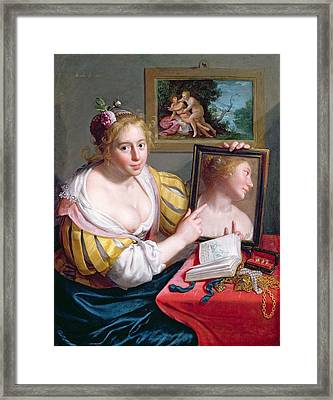 Girl With A Mirror, An Allegory Framed Print by Paulus Moreelse