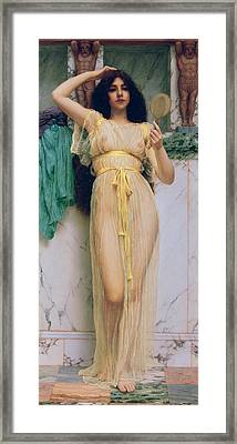 Girl With A Mirror Framed Print by John William Godward