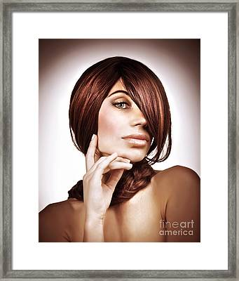 Girl With Beautiful Hairstyle Framed Print by Anna Om