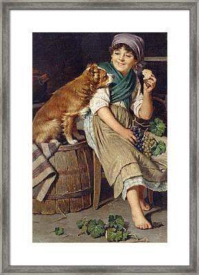 Girl With Dog Framed Print by Federico Mazzotta