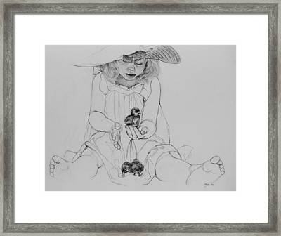 Girl With Ducklings Framed Print by Jani Freimann