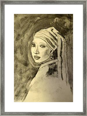 Girl With Earring Framed Print by Daniele Fedi