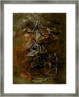 Girl With Guitar Study Framed Print by Kim Gauge