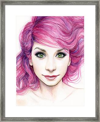 Girl With Magenta Hair Framed Print by Olga Shvartsur
