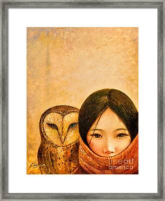 Girl With Owl Framed Print by Shijun Munns