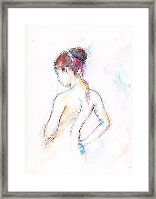 Girl With Red Scarf Framed Print by Jovica Kostic