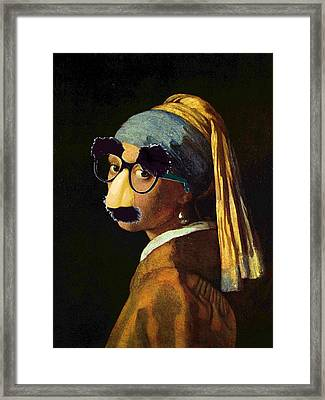 Girl With The Pearl Earring And Groucho Glasses Framed Print by Tony Rubino