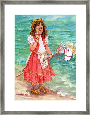 Girl With Wood Horse Framed Print by Estela Robles