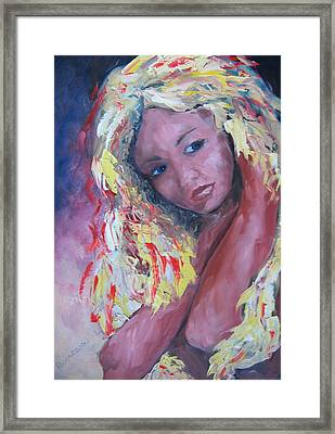 Girl With Yellow Hair Framed Print by Susan Richardson