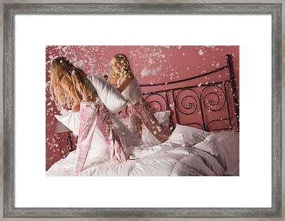 Girls Having A Pillow Fight Framed Print by Don Hammond
