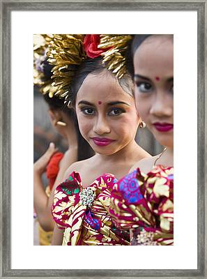 Girls In Traditional Costume Framed Print by Jenny Acheson