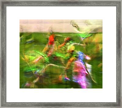 Girls Lacrosse Abstract Framed Print by Susan Leggett