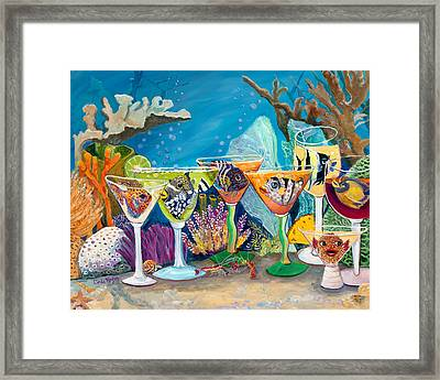 Girls Night Out At The Reef Bar Framed Print by Linda Kegley