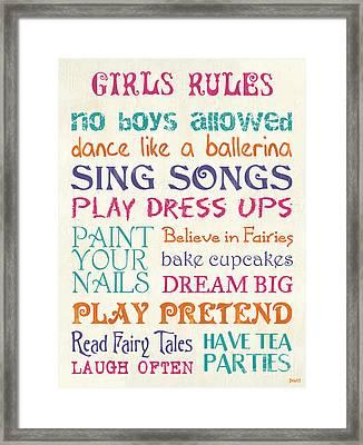 Girls Rules Framed Print by Debbie DeWitt