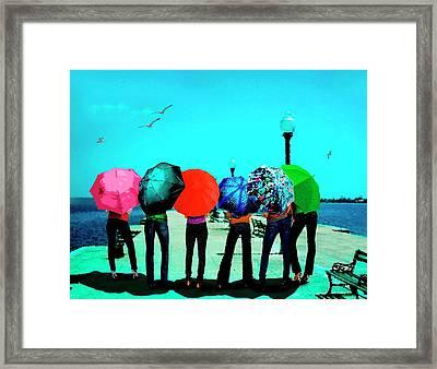 Girls Umbrellas And Sun Framed Print by Mario Perez