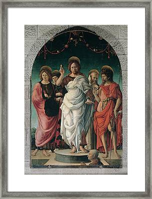 Girolamo Da Cremona, Salvator Mundi Framed Print by Everett