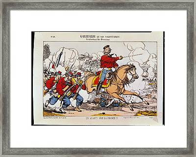 Giuseppe Garibaldi 1807-82 And His Volunteers Fighting The Prussians Coloured Engraving Framed Print by French School