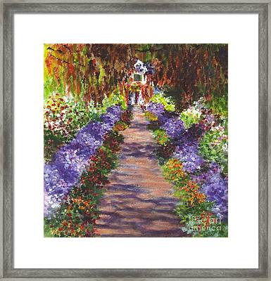 Giverny Gardens Pathway After Monet  Framed Print by Carol Wisniewski