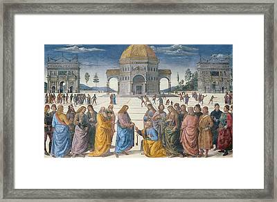 Giving Of The Keys To St Peter, From The Sistine Chapel, 1481 Framed Print by Pietro Perugino