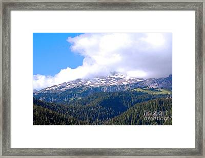 Glaciers In The Clouds. Mt. Rainier National Park Framed Print by Connie Fox