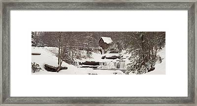 Glade Creek Grist Mill In Winter Framed Print by Panoramic Images
