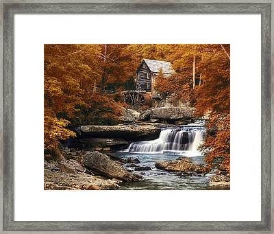 Glade Creek Mill In Autumn Framed Print by Tom Mc Nemar