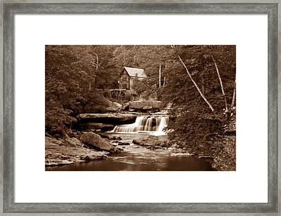 Glade Creek Mill In Sepia Framed Print by Tom Mc Nemar