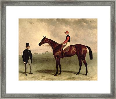 Gladiateur With Harry Grimshaw Up And His Owner Count Frederic De Lagrange Framed Print by Harry Hall