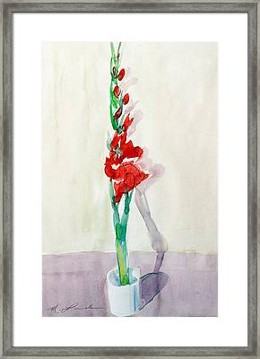 Gladiolas In A Coffee Cup Framed Print by Mark Lunde