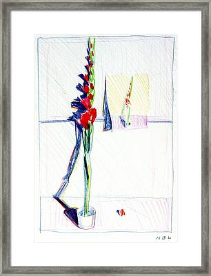 Gladiolas Pic. In Pic. Framed Print by Mark Lunde