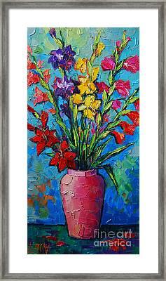 Gladioli In A Vase Framed Print by Mona Edulesco
