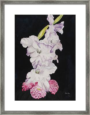 Gladiolus And Zinnias. Framed Print by Judy Loper