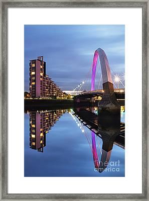 Glasgow Clyde Arc Bridge Reflections Framed Print by Maria Gaellman