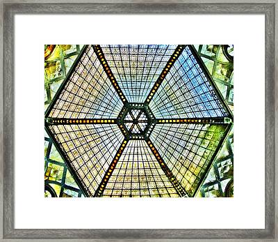 Glass Ceiling Dome In Paris Court - Budapest - Hungary Framed Print by Marianna Mills