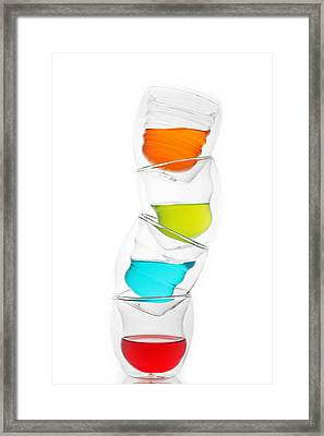 Glass Cups And Colorful Drinking II Liquid Art Framed Print by Paul Ge