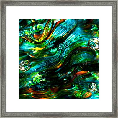 Glass Macro - Greens And Blues Framed Print by David Patterson