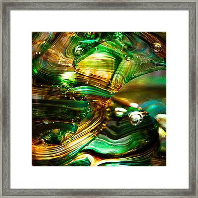 Glass Macro - Waves Of Amber Framed Print by David Patterson