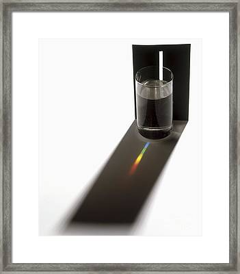 Glass Of Water And Spectrum Framed Print by Mike Dunning / Dorling Kindersley