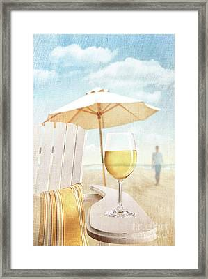 Glass Of  Wine On Adirondack Chair At The Beach Framed Print by Sandra Cunningham