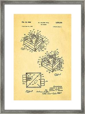 Glass Rock Em Sock Em Robots Toy Patent Art 1966 Framed Print by Ian Monk