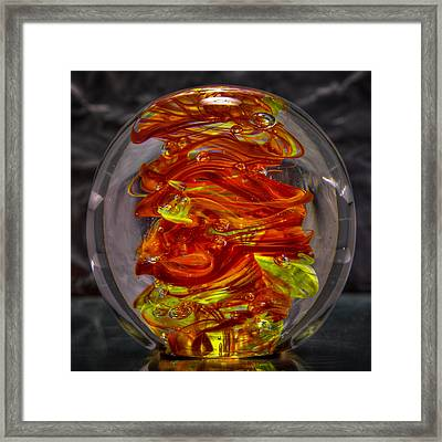 Glass Sculpture - Fire - 13r1 Framed Print by David Patterson