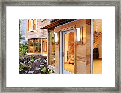 Glass Windows And Doors Of Modern House Framed Print by Will Austin