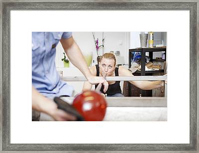 Glassblowers At Work Framed Print by Thomas Fredberg