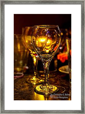 Glasses Aglow Framed Print by Christopher Holmes